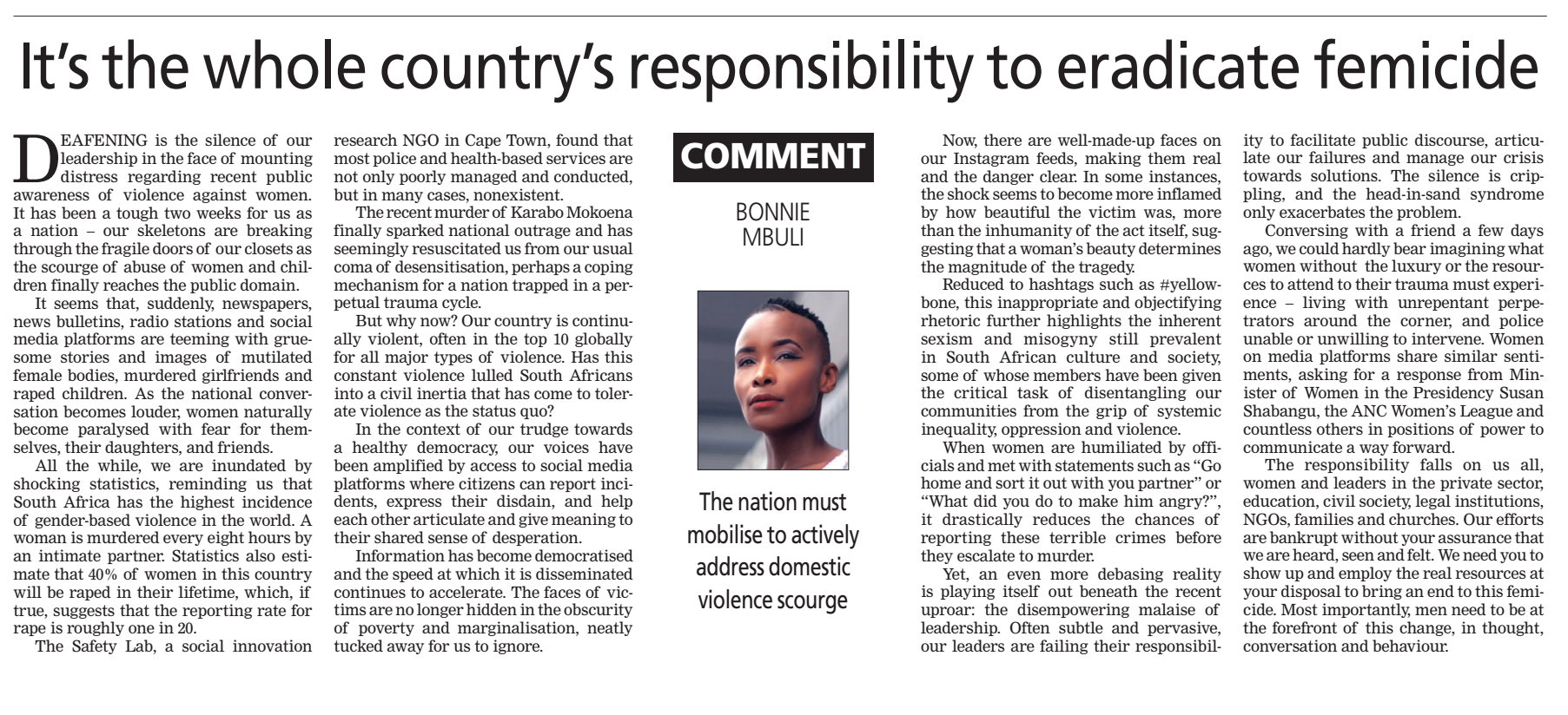 The Star: Eradicating Femicide By Bonnie Mbuli